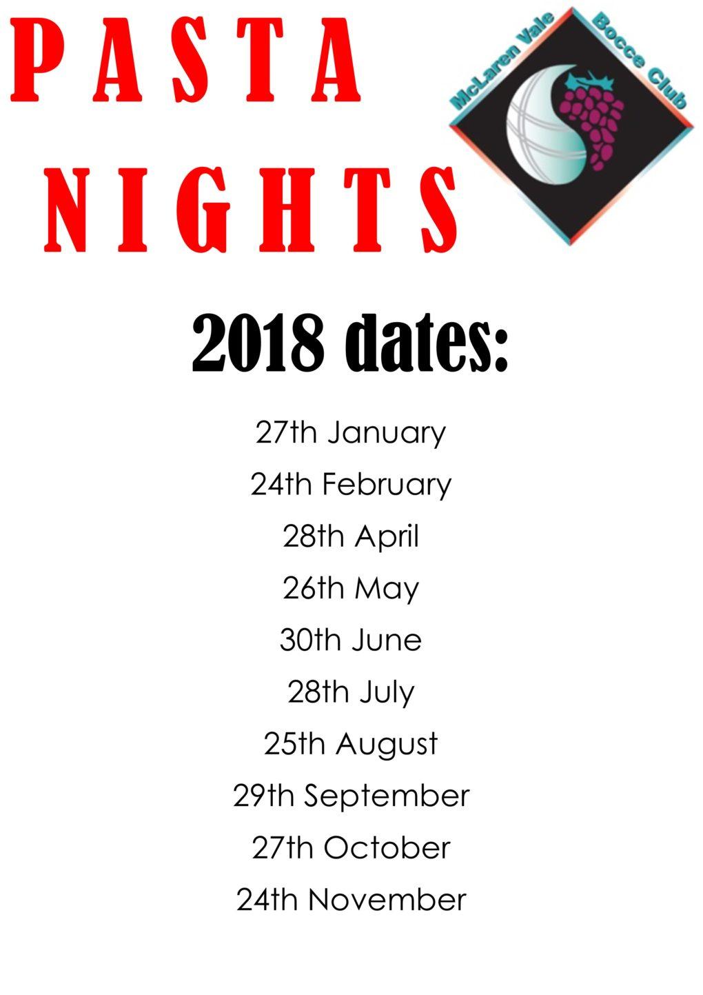 Pasta nights 2018